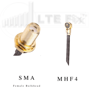 MHF4 Female (Right Angle) to SMA Female Bulkhead (Straight) Pigtail Cable